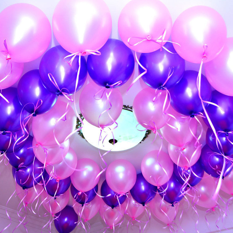 Free Shopping 100 Pcs/lot 1.2g 10 High Quality Round Pearlescent Balloons Wedding Happy Birthday Party Adult Kids Baby Shower