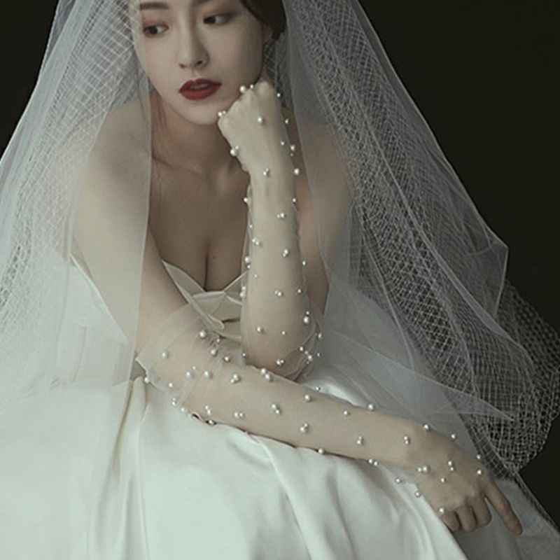 Simple Wedding Dress Gloves Bride Long Glove Photography Props Charming Thin Section Mesh Artificial Pearl Mittens