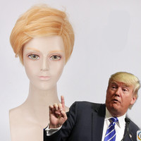 Donald Trump Gold Wig Adult Costume Accessory Party Fancy Hair Clips Funny Accessory