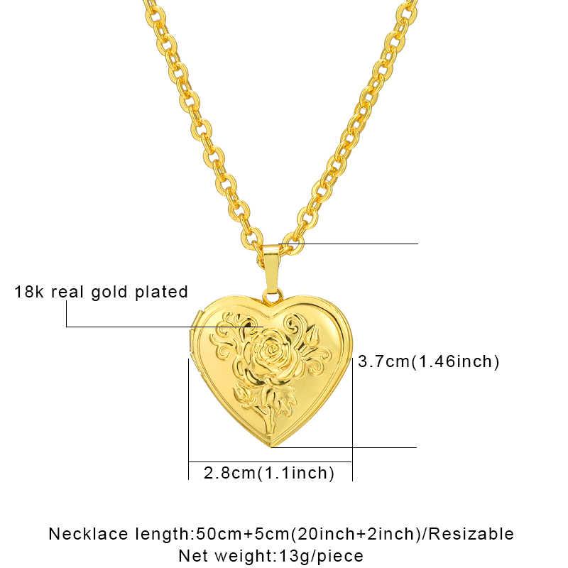 الورود القلب المنجد إطار الصورة عُقد ذهبي بدلاية/فضي اللون رومانسية الحب Vintage مجوهرات النساء أفضل هدية