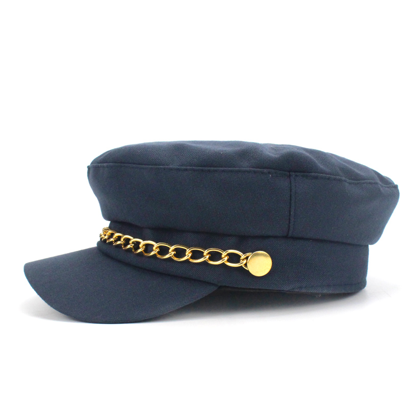 455ebab8 Military Hat Women Army Hats Caps of Sailor Cap Marine Gorro Marinero  Militar Navy Hat Leather Visor Flat top Iron Chains Cap-in Military Hats  from Apparel ...