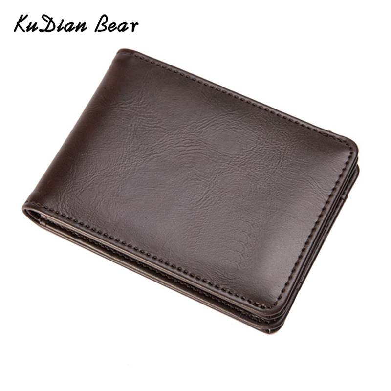 KUDIAN BEAR Short Men Wallet Leather Small Male Purse Bifold Slim Card Holder Wallet for Men Carteira Masculina -- BID208 PM49 williampolo mens mini wallet black purse card holder genuine leather slim wallet men small purse short bifold cowhide 2 fold bag