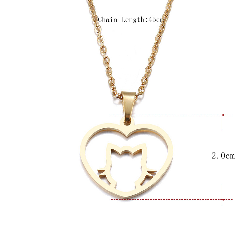 Hibobi Stainless Steel Necklace Women Jewelry Heart Cat Trendy Necklaces Pendants Chain Donot Fade Valentine`s Day Gift (3)