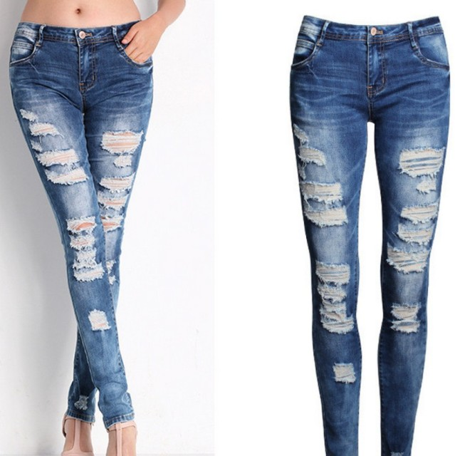 Aliexpress.com : Buy New 2016 Sexy Ladies Jeans Bule Skinny Ripped ...