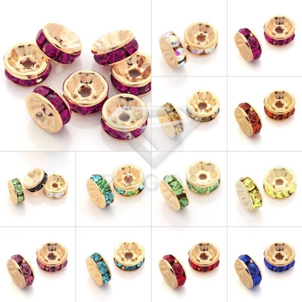 100pcs Crystal Rhinestone Rondelle Beads 12mm Straight Spacer Golden Plated Jewellery Making For Bracelet Necklace CR0390