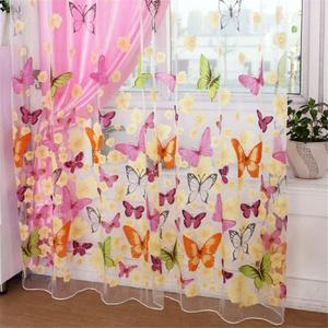 Image 1 - Mariposa colorida de tul estampado de pantallas de ventana Voile puerta cortinas cortina Panel o bufanda de cortina