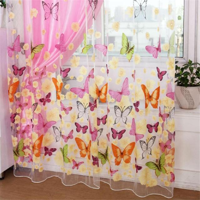 Mariposa colorida de tul estampado de pantallas de ventana Voile puerta cortinas cortina Panel o bufanda de cortina