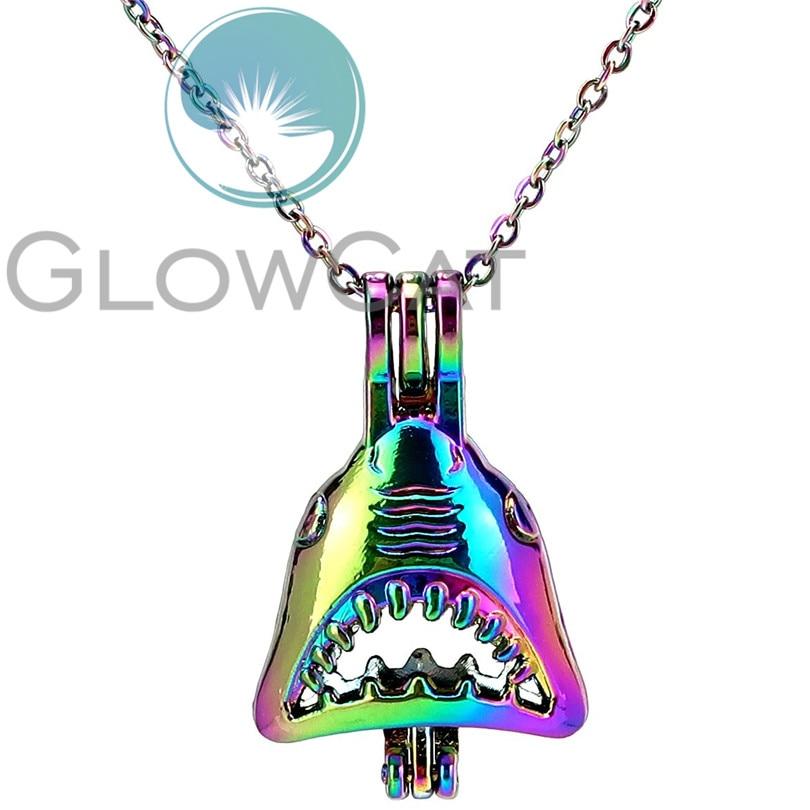 """C1016 Arc-en-Requin Aroma Diffuseur Perle Cage Médaillon Charme Collier 18/"""""""