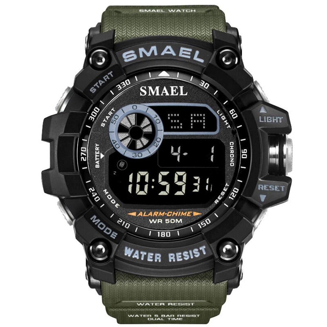 SMAEL Digital Watches Men Big Dial Sport Watch 50M Waterproof LED Clock Digital Watch Light Men Digital Watch Relogio Masculino