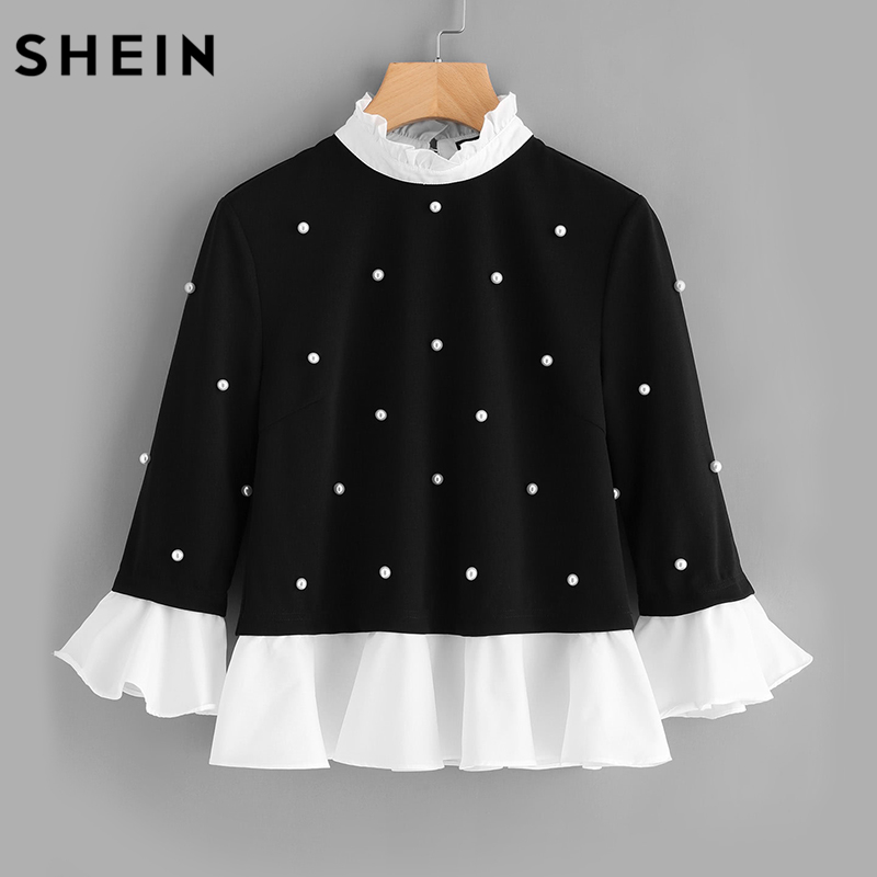SHEIN Contrast Frill Trim Pearl Embellished Top Black and White Contrast Collar Three Quarter Length Flare Sleeve Blouse