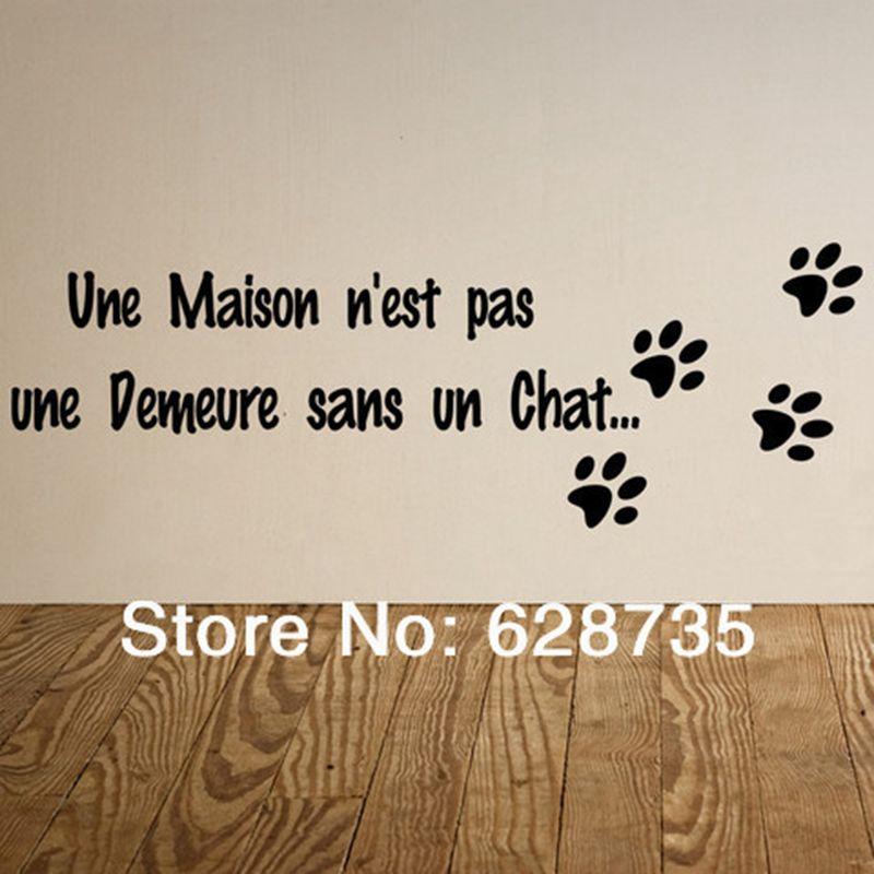 """Une maison n'est pas une demeure ..."" Perancis Vinyl Wall Sticker Dog Footprint Cat Wall Decals For Home Living Room Decoration"