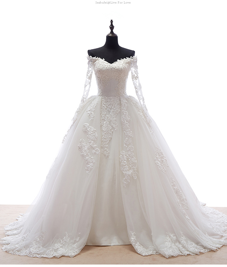 2016 Princess Style Long Sleeve Ball Gown Off Shoulder V Neck Lace Tulle Luxury Wedding Dresses Bridal Gowns Custom W904 In From