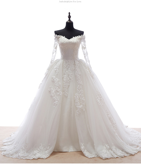 2016 Princess Style Long Sleeve Ball Gown Off Shoulder V neck Lace ...