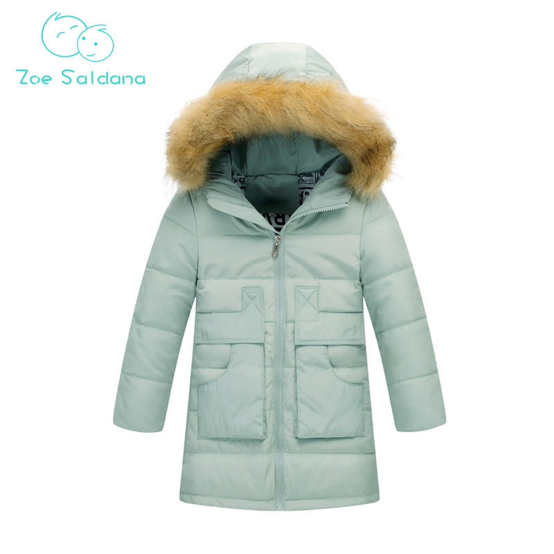 Zoe Saldana Girl's Coat 2017 New Fashion Winter Solid Hooded Long White Duck Down Casual Kids Warm Detachable Fur Collar Coats zoe saldana girl s coat 2017 new fashion winter solid hooded long white duck down casual kids warm detachable fur collar coats