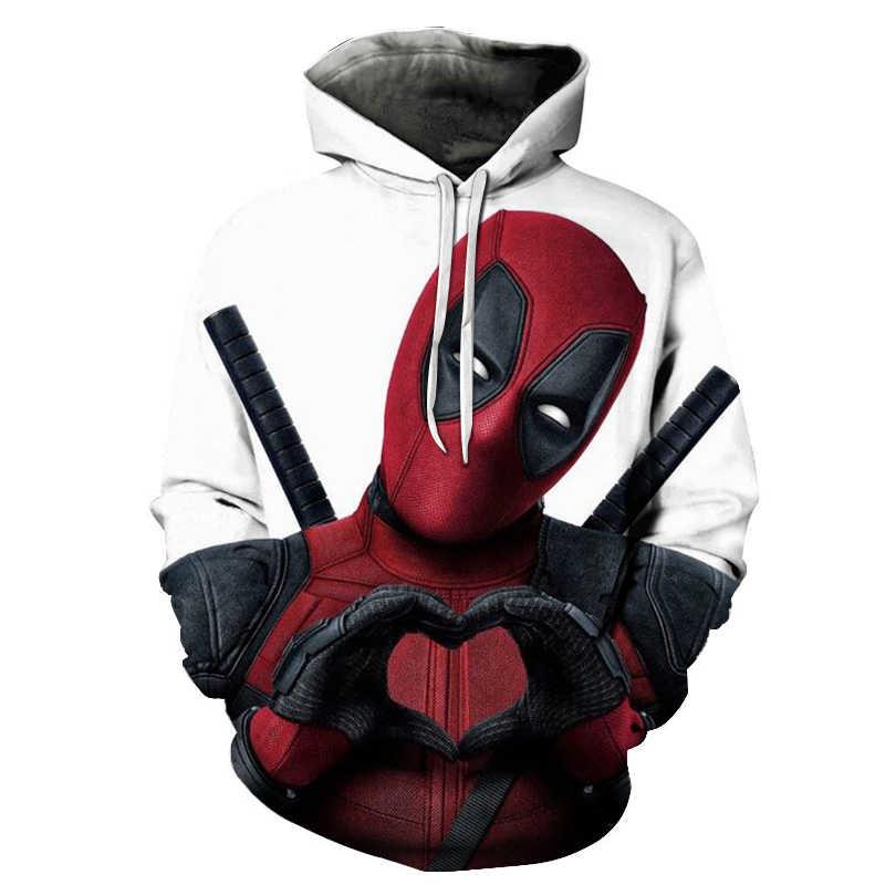 새로운 3d 인쇄 영화 슈퍼 히어로 deadpool 2 남자 여자 까마귀 캐주얼 풀오버 후드 티 스웨터 streetwear 재킷 힙합 2019