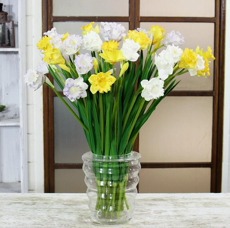 Wholesale Flowers For Weddings Events: Wholesale 100pcs Spring Flower PU Yellow Daffodil Real