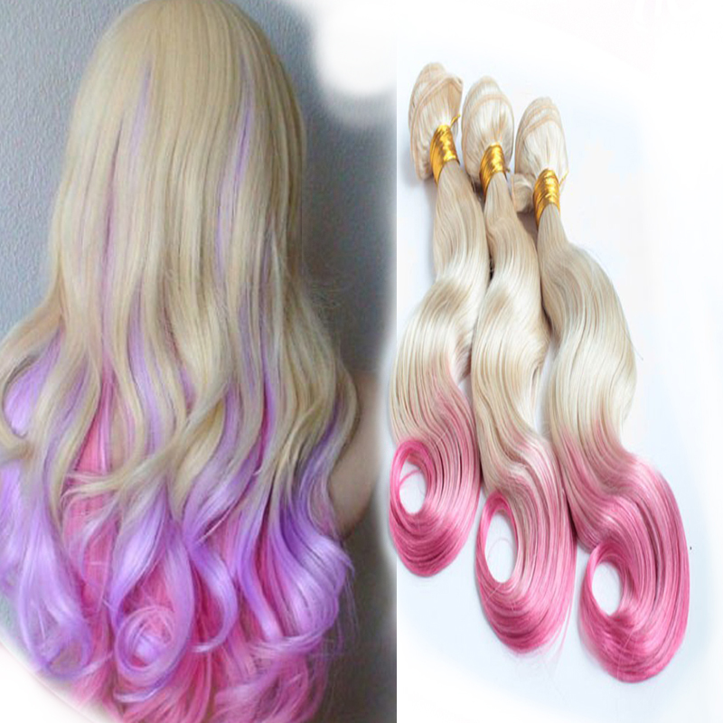 Cheap Girls Ombre 2 Tone Color Blonde Pink Hair Weft Body Wave Remy