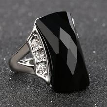 Boho anillo grande de piedra negra Mosaico dorado antiguo cristal turco joyería Vintage rojo anillos de boda para las mujeres Accesorios