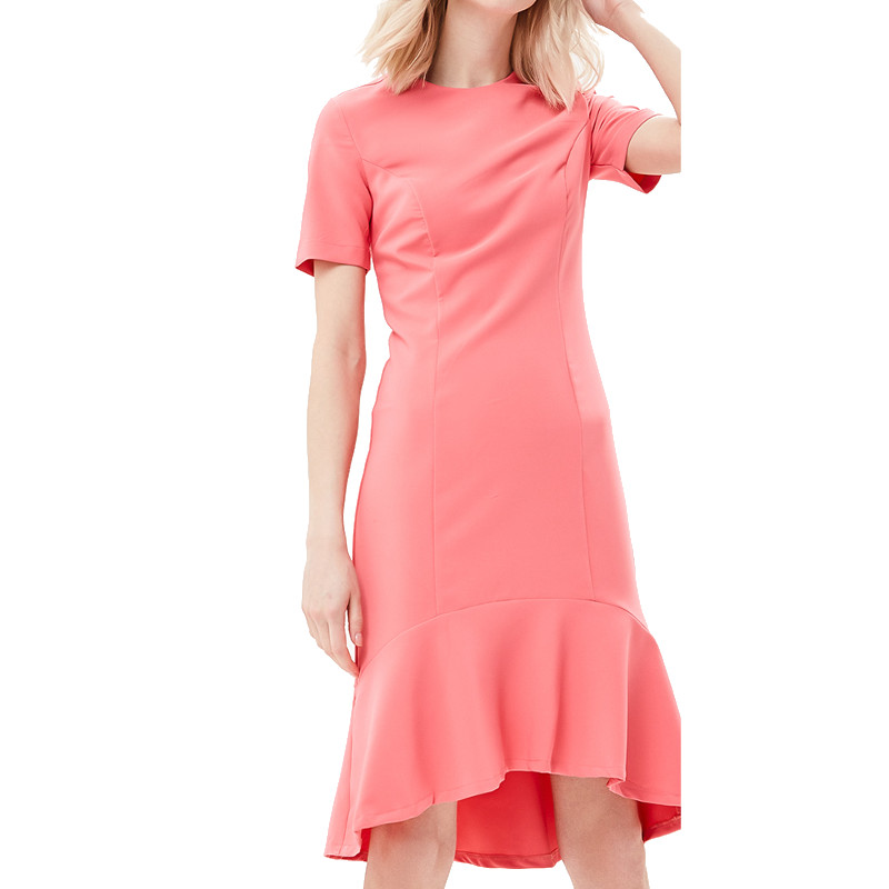 Dresses MODIS M181W00443 women dress cotton  clothes apparel casual for female TmallFS alluring scoop neck ruched asymmetrical backless women s dress