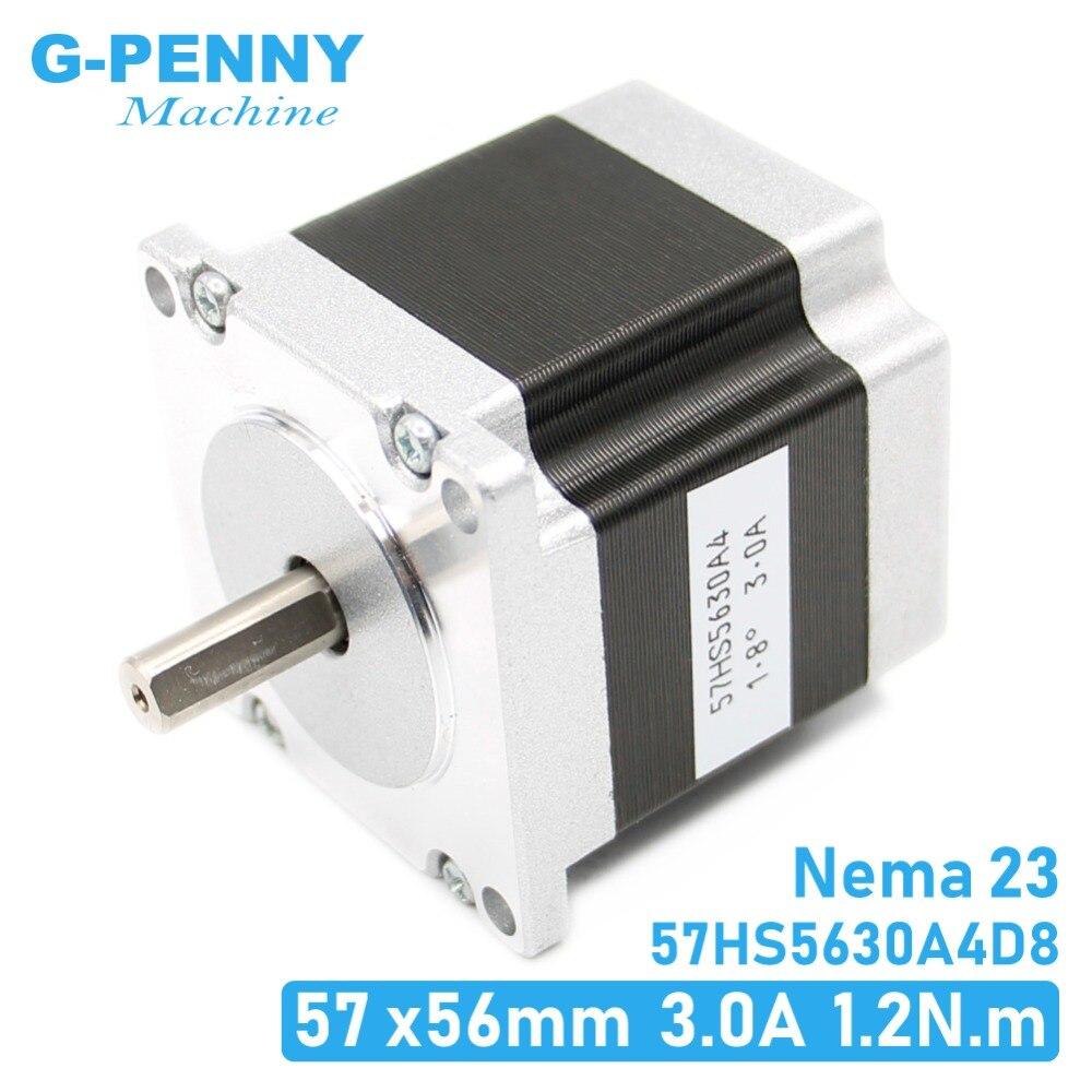 מנוע צעד 57x56 D = 8mm NEMA23 4 חוטים 3A 1.26N. m דריכה מנוע 180Oz-in NEMA 23 לcnc חריטת מכונת כרסום 3D מדפסת