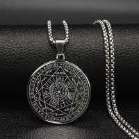 Moda Witchcra pentagrama Acero inoxidable gargantilla collares cadena joyería hombres Color plata collares joyería colgante N18903