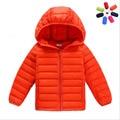2016 menino e menina ultra light para baixo inverno jaqueta de pato para baixo jaquetas meninos parka zíper fino de manga comprida fina coats pockets sólidos