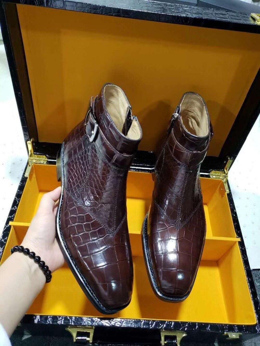 Super Big Size 100% Real Genuine Crocodile Skin Men Fashion Shoe With Genuine Cowhide Skin Lining Leisure Men Shoe Zippers