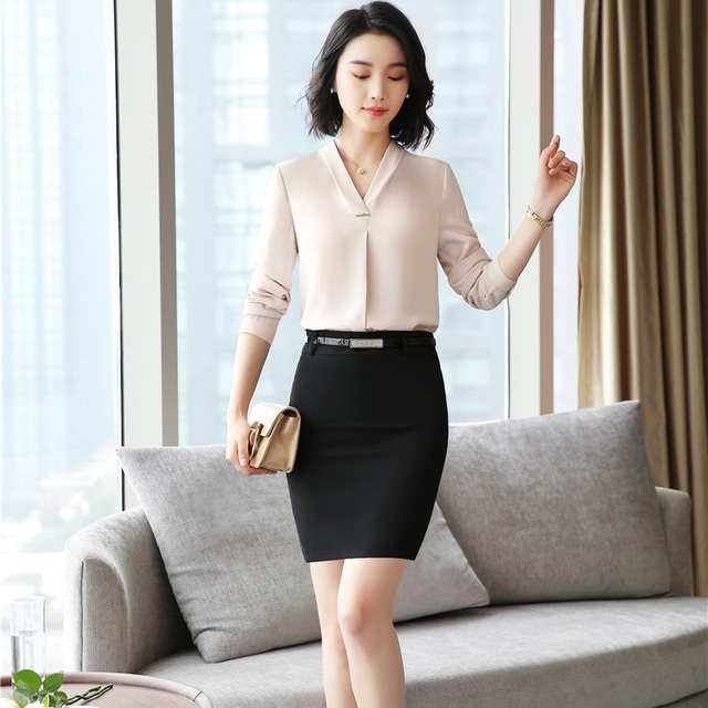 e8084335c2e 2018 New Style Fashion Champagne Business Suits With 2 Piece Tops And Skirt Women  Blouses Shirts Sets Work Wear Skirt Suits