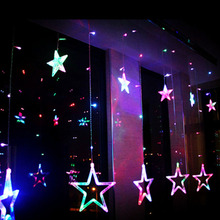 Stars Ice Led String Garland strip 138leds  Fairy Lights Christmas Window Curtains Party Wedding Room hotel Decor Dearm life VR