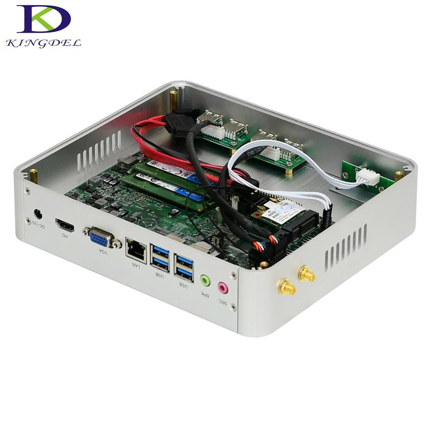Kingdel Fanless Mini PC Desktop PC Intel I5 7200U I3 7100U HTPC HDMI VGA Windows 10 Pro Linux Max 16G RAM 512GB SSD Graphics 620