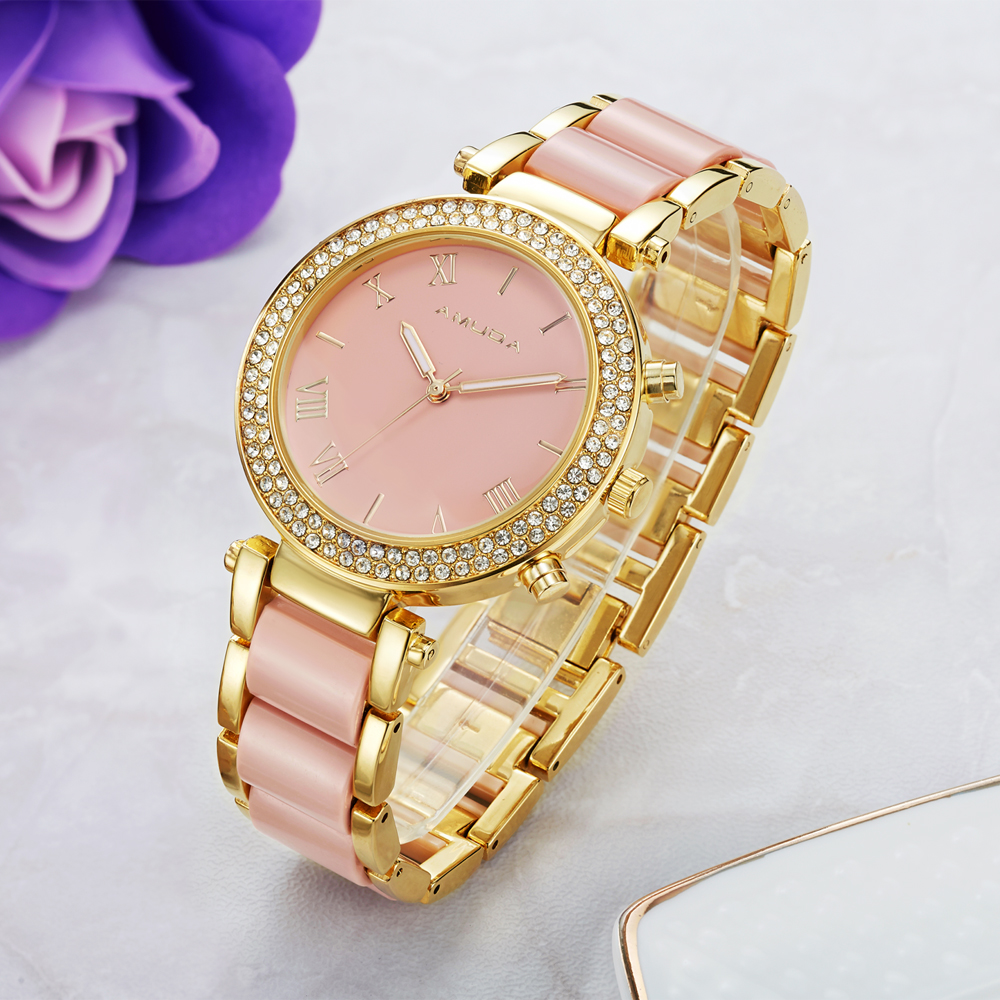 Fashion Women Casual Watches Ladies Wrist Watch Gold Bracelet Simulated Ceramic Dress Diamond Quartz-watch relogio feminino time100 fashion women s watches simulated ceramic diamond ladies quartz watch dress casual bracelet watches relogios femininos