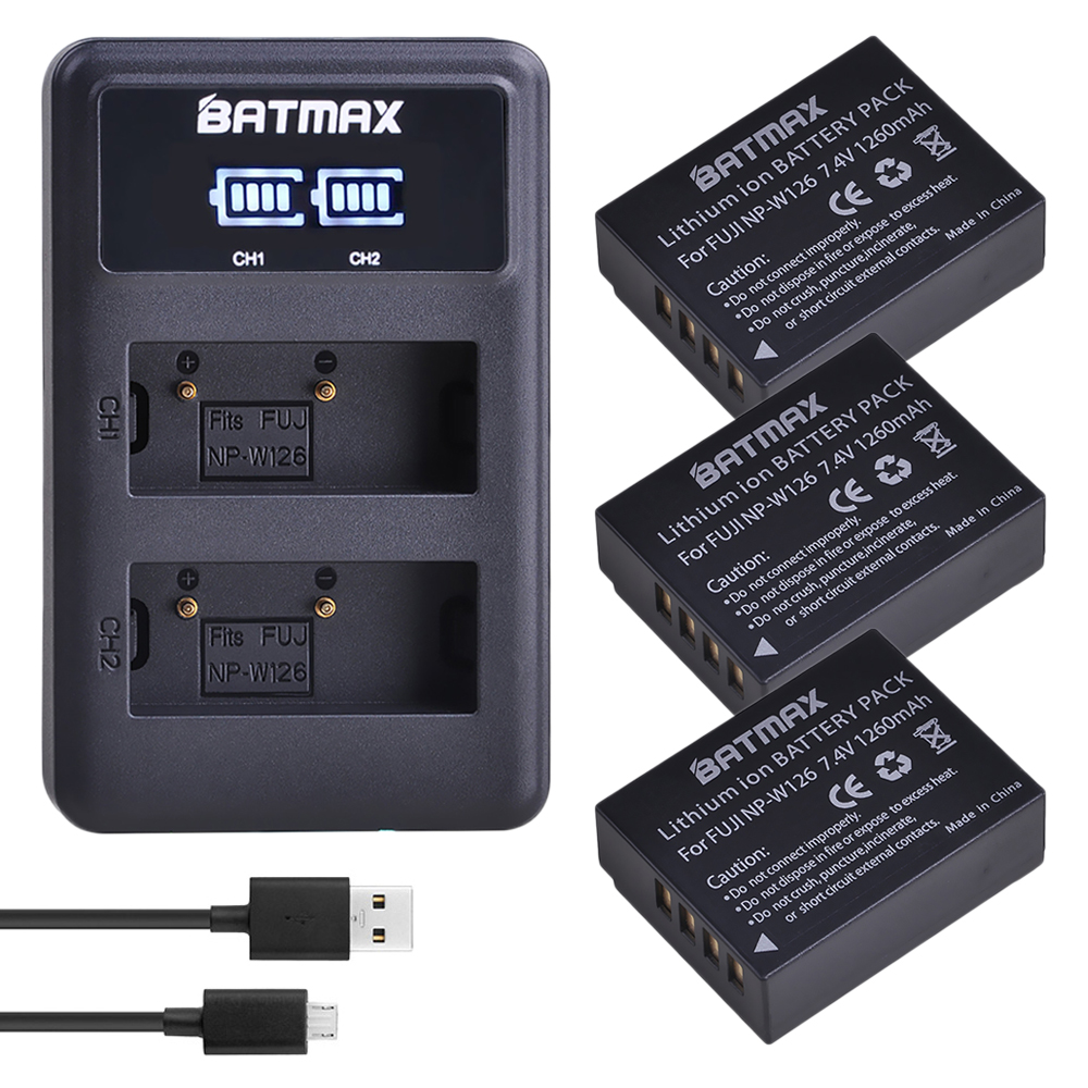 3Pcs NP-W126 NP W126 Battery + LED Dual Charger for Fujifilm X100F X-T10 X-T20 X-Pro1 X-Pro2 HS30EXR HS33EXR <font><b>HS35EXR</b></font> X-A1 X-A2 image