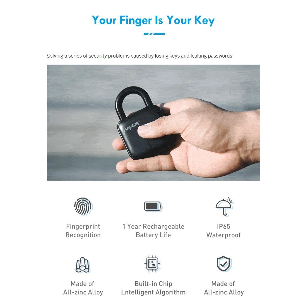Cadeado de Impressão Digital do Bluetooth Fechadura da Porta de Segurança da Porta do Armazém ao ar Fechamento da Bagagem Inteligente Fechadura Eletrônica Livre Cadeado