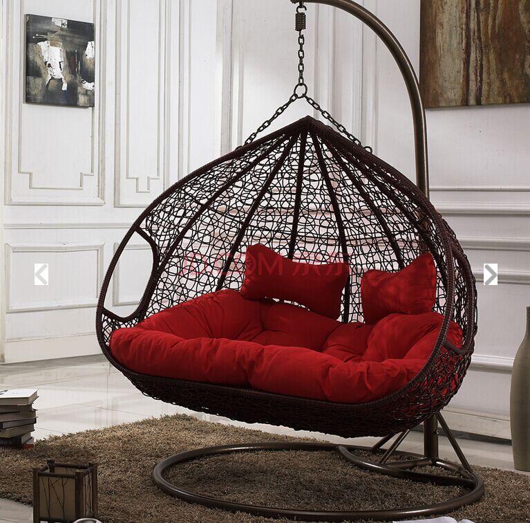 Double hammock swing hanging chair rocking basket wicker ...
