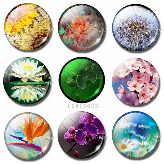 Luminous Flower Fridge Magnet Glass Sunflower Lotus Daisy Rose Sakura Dandelion Magnetic Sticker for Refrigerator for Home Decor 1