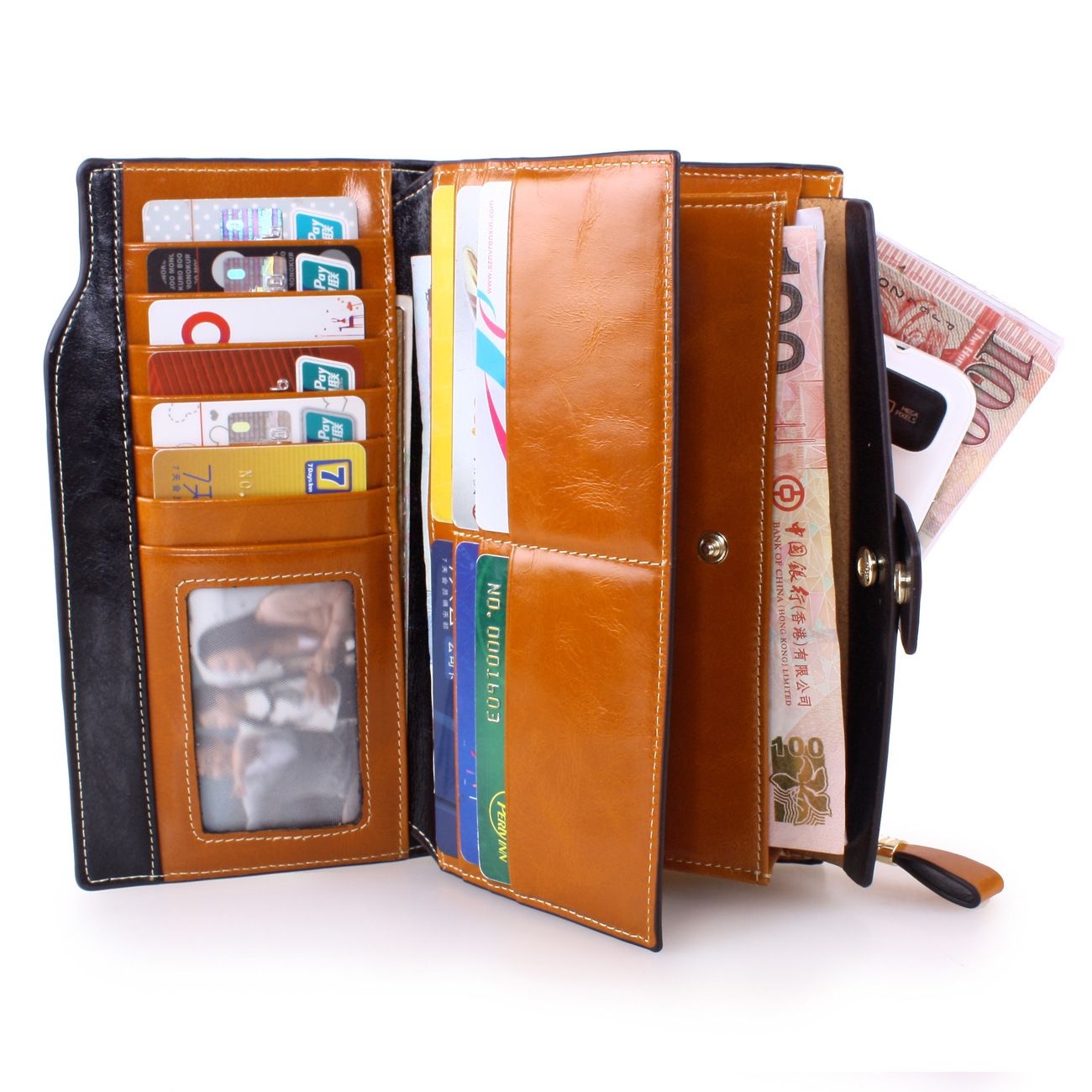 Real leather Money Clips Cardholder wallet 3 folds Spot women s men long Oil wax multi