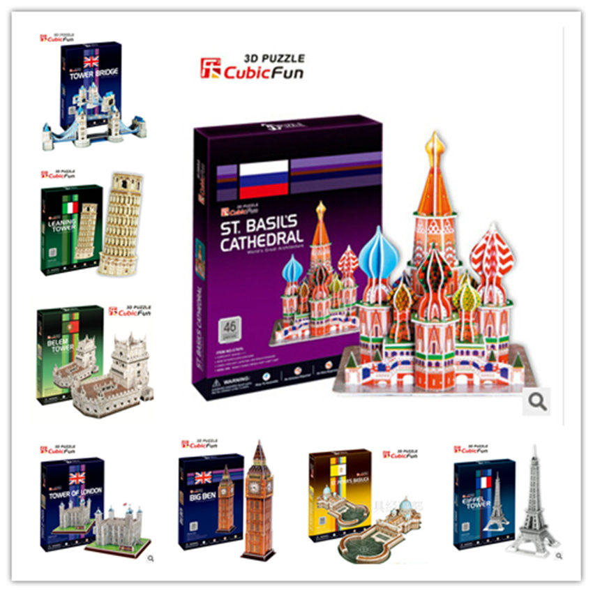 Medium Size  3D Puzzle Toys Series C Big Ben Leaning Tower of Pisa Titanic Dome of the rock Tower Bridge Paper Model series s 3d puzzle paper diy papercraft double decker bus eiffel tower titanic tower bridge empire state building