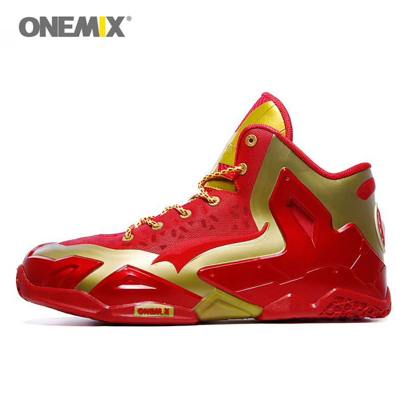Onemix Iron Man Basketball Shoes For Men Sport Sneakers Anti Skid Athletic Trainers Red 12 Colors Plus Size 46 Tenis De Basquete brand running shoes for men women unisex sport trainers breath athletic sneakers runner 9 colors plus max big size 12 onemix