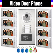8 Units Apartment Intercom System Video Intercom Video Door Phone Kit HD Camera 7 Inch Monitor with RFID keyfobs for 8 Household
