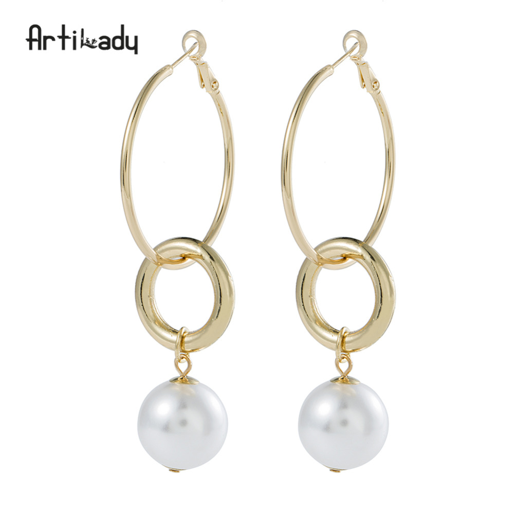 Artilady Simulated Pearl Hanging Hoop Earrings Double Circle Special Jewelry For Women As Gift Dropshipping In From