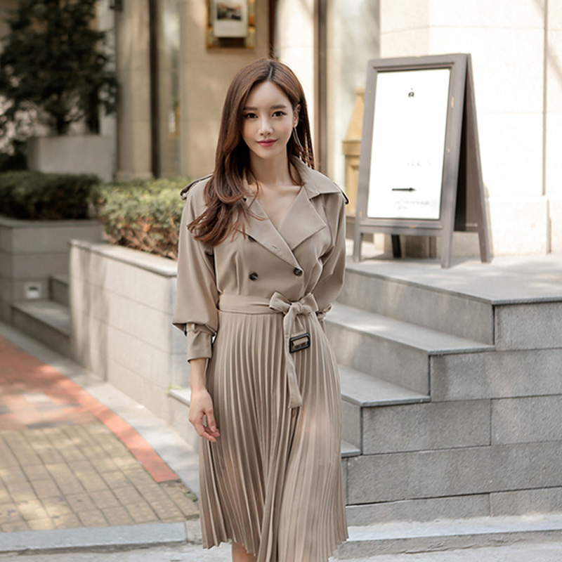 Elegant Double Breasted Turn down Collar Women Dress A line Solid Mid length Party Dress Sexy