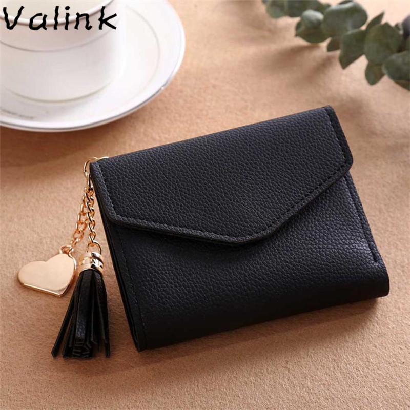 Valink 2019 New Women Simple Short Wallet Tassel Coin Purse Card Holders Multi-card Position Female Wallet Portefeuille Femme