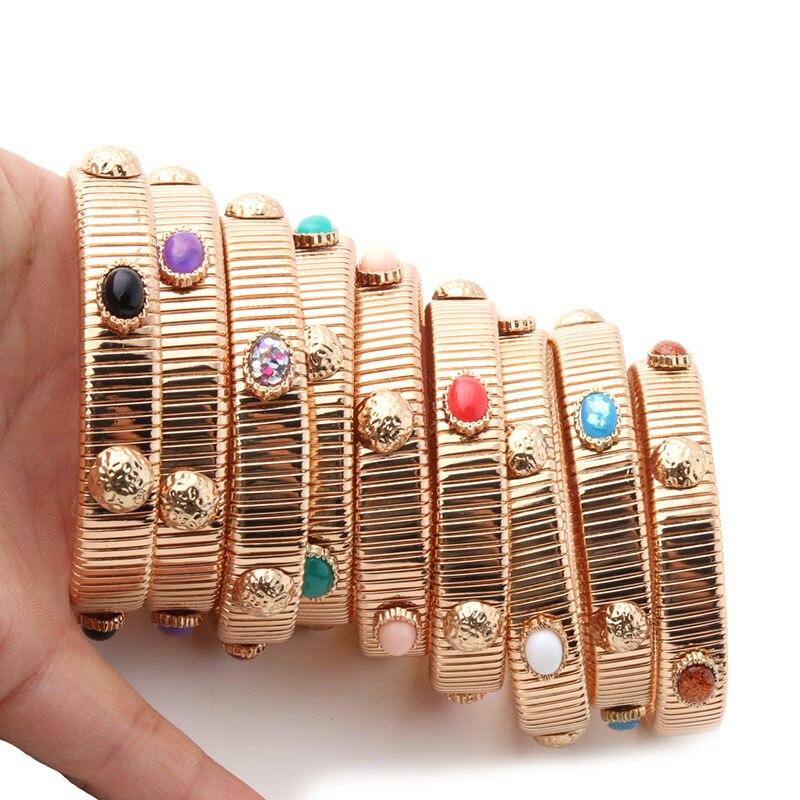 Neefuwofu 12mm primavera corrente pulseira de cobre natural pedra pulseiras bohemia de madera pulseira pulseira atacado