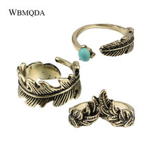 3 Pcs/lot Hot 2018 Fashion Feather Pattern Adjustable Finger Knuckle Ring Set Women Vintage Antique Gold Indian Ring Jewelry(China)