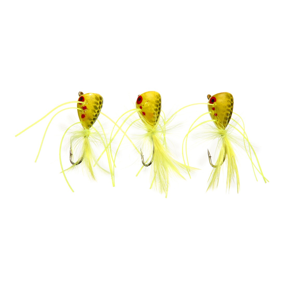 3Pcs Popper Fly Chartreuse Set Color Topwater Hooks Fishing Lure Bass Trout Floating Foam Poppers Tackle