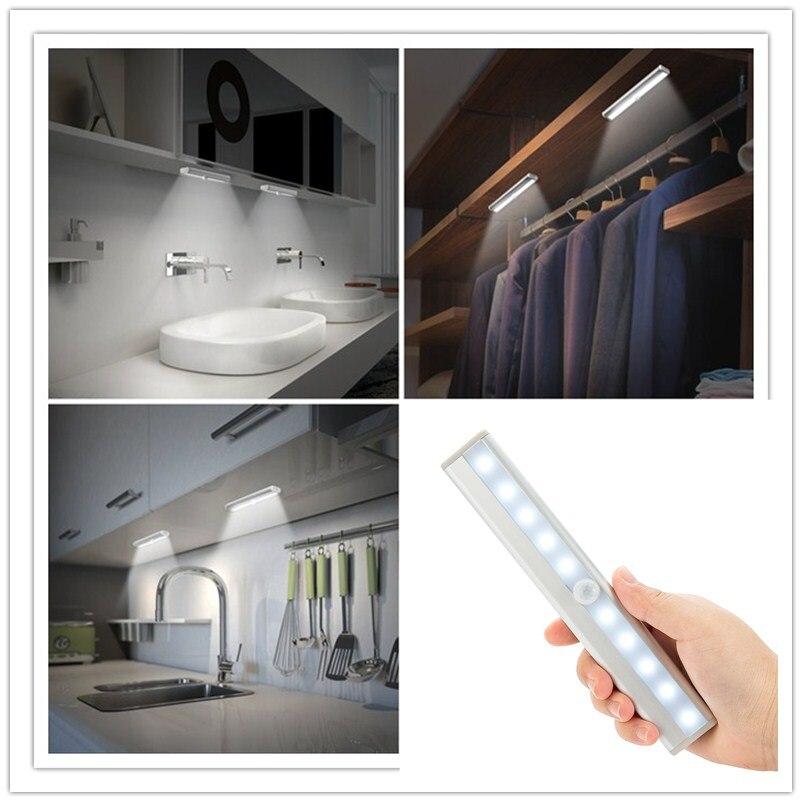 Amagle Led-nachtlichter mit Bewegungssensor Schrank Schrank Licht AAA Batteriebetriebene Lampe Signalgeber ABS Nacht Lampe Luminaria