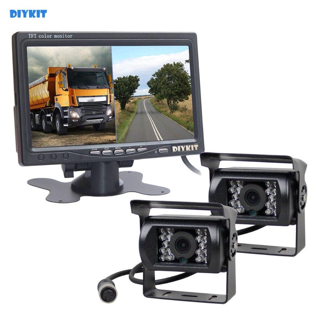 DIYKIT DC12V-24 v 7 pouces 2 Split LCD Écran Moniteur De Voiture HD CCD Arrière Système De Caméra De Voiture pour Bus Péniche Camion