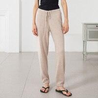 Новые 100% кашемировые брюки Для женщин осенне зимние штаны одноцветное Цвет пят супер теплый свободный эластичный пояс бегунов Для женщин