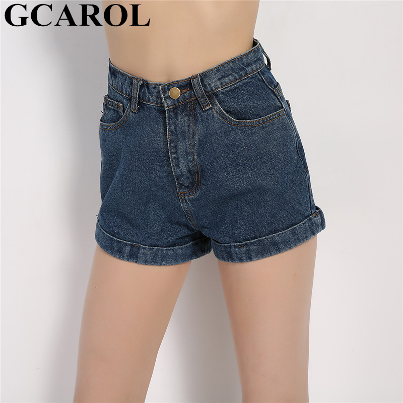 GCAROL Euro Style Women Denim Shorts Vintage High Waist Cuffed Jeans Shorts Street Wear  Summer Spring Autumn Shorts