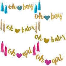 OH Baby/ Girl// Boy Banner Sign - Baby Shower Decorations Girl / Unisex Bunting Suplies